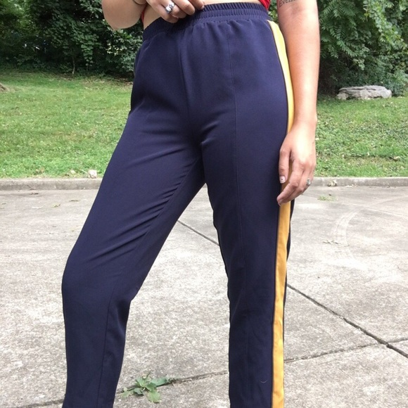 Chloe & Katie Pants - Navy and gold track pants